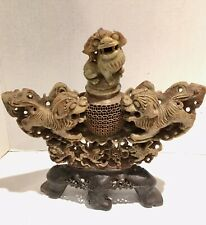 BEAUTIFUL ANTIQUE CHINESE STONE CARVED INCENSE  BURNER