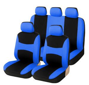 Black/Blue Car Seat Covers Front Rear Cushion Protectors Universal 9pcs Full Set