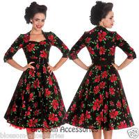 RKP3 Hell Bunny Eternity 50's Floral Rose Rockabilly Swing Dress Retro Vintage