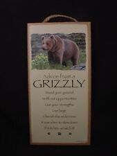 "Advice From A Grizzly Wisdom Love 5"" x 10"" Wood Sign wall Hanging Plaque Bear"
