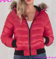 NEW WOMENS LADIES QUILTED WINTER COAT PUFFER FUR COLLAR HOODED JACKET SIZE SANDB