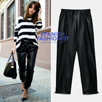ZARA WOMAN NWT SALE! BLACK FAUX LEATHER JOGGING TROUSERS SIZE M REF: 7102/154