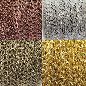 1-10M Silver Bronze Gold Fine Metal Curb Rhombus Ring Jewellery Chain 8x7mm DIY