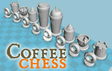 New listing Coffee Chess! Mugs, Donuts, Frappes! Mug, Espresso-Themed Chess 32-Piece Set!