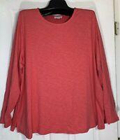 New J Jill women long sleeve Top plus size 2X Seamed back / side slits crew neck