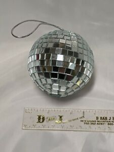 """3"""" glass disco ball, mirrored ornament, party ball, Excellent Cond., Silver-tone"""