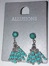 Allusions - Turquoise & Silver Tone Dangle Bead Earrings
