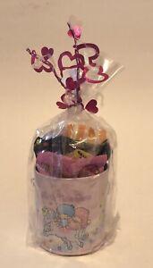 Sanrio Hello Kitty Little Twin Stars Metal Tin Bank Bucket 2002 Rare W/ Candy