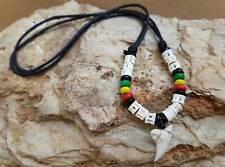 "Bob Marley Rasta Shark Tooth Men Necklace Hippie Boho Surfer16"" Choker Slip Knot"