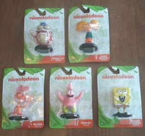 Lot of 5 Nickelodeon Collectible Figures SpongeBob Patrick Arnold Ren Stimpy