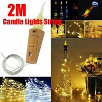 10-60x Warm Wine Bottle Candle Shape String Light 20 LED Night Fairy Lights Lamp