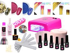 UV Polish Gel Set Nagelset 5 x Hybridlack + Lampe Holo Effekt viele Nagelfolie!