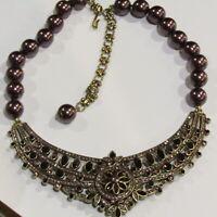 "Heidi Daus ""Paris Salon"" Crystal Necklace Choker Burgundy Pink 19"""