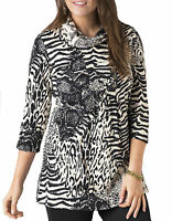 Ladies UK Plus Size 10 - 18 Black Cream Stretchy Long Tunic Top