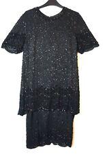 BLACK FORMAL PARTY EVENING SILK VINTAGE FLAPPER DRESS SIZE M H. BEADED SEQUINS