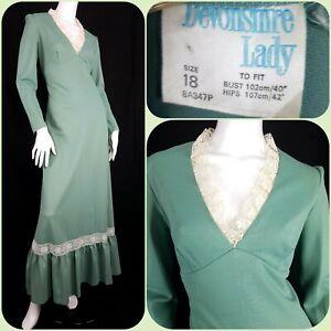 Vintage 70s Sage Green Prairie Maxi Dress Size 14 Boho Cottagecore Fairycore