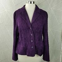 Croft Barrow Tapestry Jacket size 14 Art To Wear Button Up Career Purple Floral
