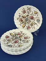 Staffordshire Bouquet Set of 8 Tea Saucers Plates Made in England byJohnson Bros