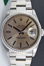 ROLEX - Mens 36mm Stainless DateJust Silver Stick Dial - 16220 SANT BLANC
