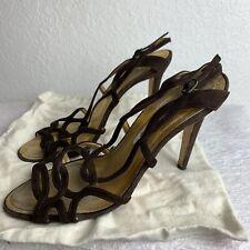 MANOLO BLAHNIK Brown Leather Slingback Strappy Heels Sandals Sz 38