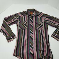 Hustler Long Sleeve Black Snap Western Style Shirt Long Tail Size S 14.5