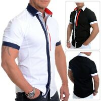 Mens Short Sleeve Shirt Summer Casual Slim Wedding Cotton White Stitched Red Tie