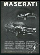 1981 Maserati Quattroporte Merak 2 car photo vintage print ad