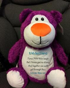 Soft Purple Teddy - Personalised With Embroidered Message, Name or Birth Date