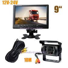 "9"" LCD Monitor Car Rear View Kit + 18 LED Reversing Backup Camera for Bus Truck"