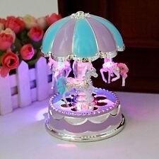 Kids Girl LED Horse Carousel Music Box Toy Clockwork Musical Home Decor Gifts