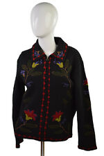 Tally Ho Women 100% Wool Sweater  Black Red Floral Embroidered Zippered Up Sz S