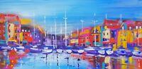 "ORIGINAL Acrylic  PAINTING Paimpol Harbor France 12""x24.5"" Marilyn Allis"