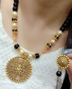 India Gold Tone Beads Ganesh Necklaces Mala Earrings Jewelry Pearl Gift Love
