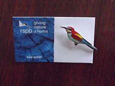 RSPB GNaH bee-eater Metal Pin Badge on blue FR Card