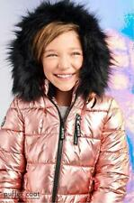 JUSTICE girls heavyweight puffer sherpa lined metallic parka coat 6/7 14/16 18/2
