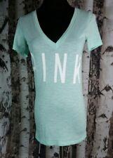 Victorias Secret PINK Short Sleeve V-Neck Shirt Top Mint Green Size XS Thin Tee