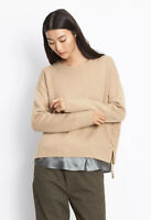 VINCE cashmere beige tan relaxed boxy fit lace up crew neck jumper S