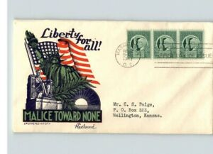 """WORLD WAR II Patriotic, 1943 FDC w/ STAEHLE Cachet, """" LIBERTY for ALL! MALICE To"""