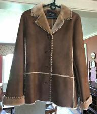 Jones New York Women's Faux Leather Coat Fur Lined Size M