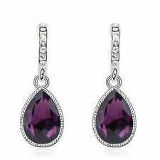 Silver Plated Purple Austrian Crystal Water Drop Push Back Earrings Bridal Gift