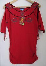 T-shirt long épaules dénudées en M - ROUGE - 100 % COTON - ORIGINAL - NEUF -CHIC