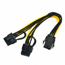 6-Pin PCI-E Female To Dual 8-Pin (6+2 Pin) Male Video Card Power Adapter Cable