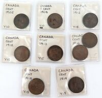 .9 x CANADA CANADIAN ONE CENT COINS. 1905 - 1919