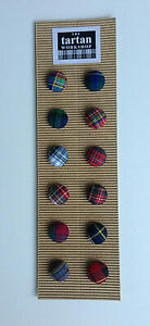 12 MIXED TARTAN FABRIC COVERED BUTTONS - 20mm