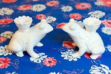 Fitz and Floyd   Frog Candlestick Holders   White   Excellent Condition!