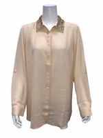 Joan Rivers Women's Silky Blouse with Embellished Collar Bisque Large Size