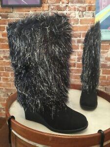 Joan Boyce Black Shaggy Metallic Fur Wedge Boots NEW