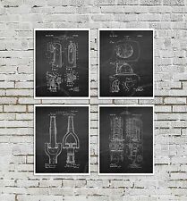 Firefighter Posters Set of 4 Firefighting Art Prints Boys Room Black Wall Decor