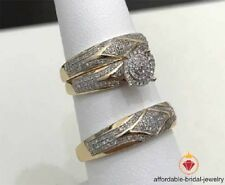 Diamond Trio Set Yellow Gold Finish His & Her Engagement Ring Wedding Band