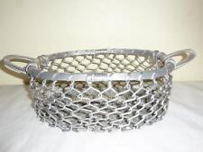 "Vintage Estate Aluminum Chain Link Woven Bottom 2 Handle Basket ""Wow"""